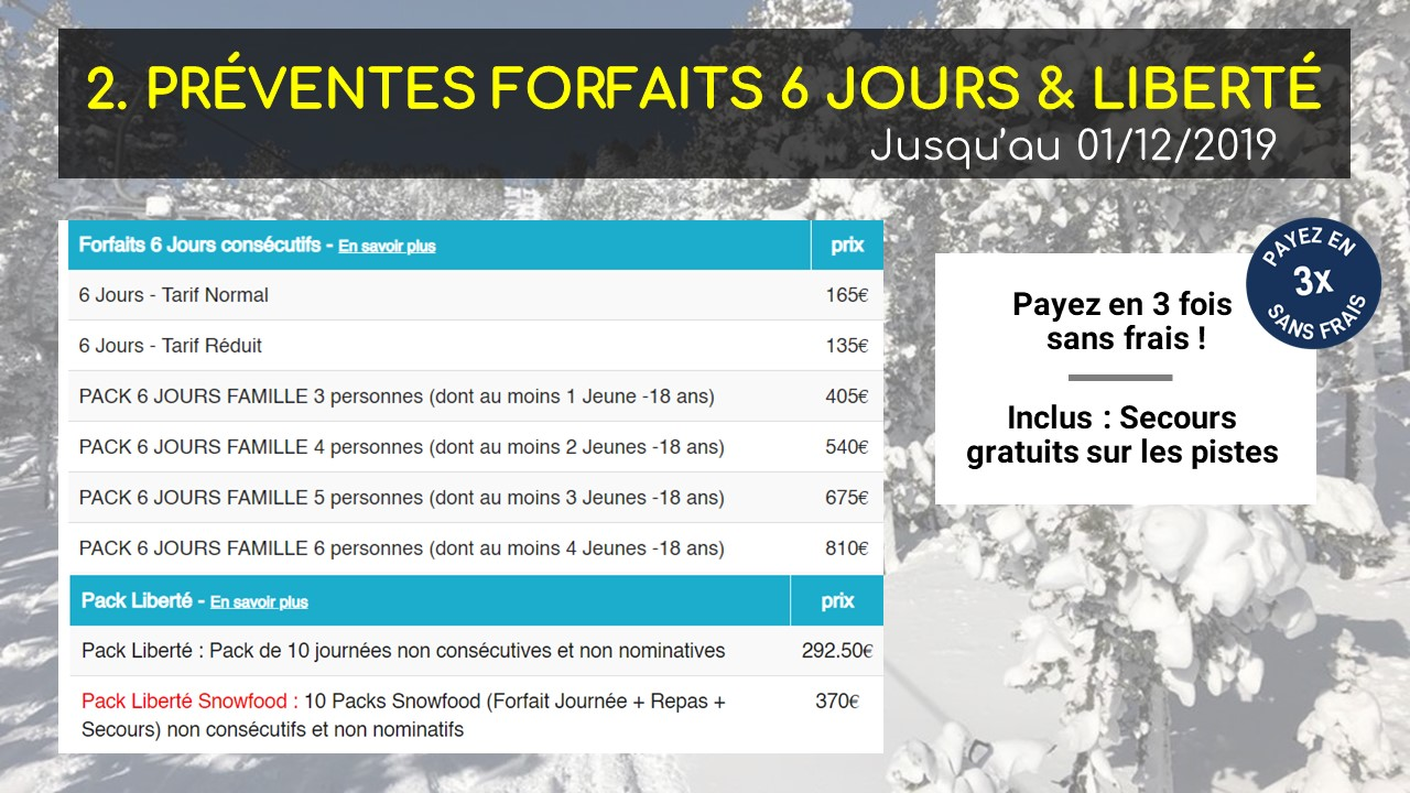 prevente forfaits formigueres 2019-2020